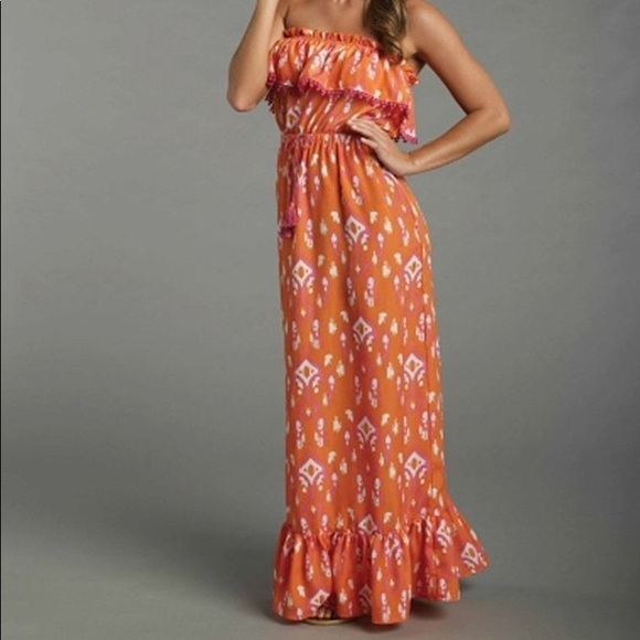 06cf896576 Mud Pie Dresses | Mudpie Tangerine Ikat Maxi Dress | Poshmark